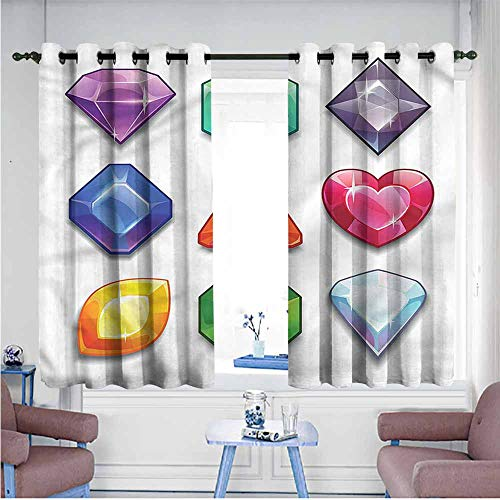 (VIVIDX Window Curtains,Diamonds,Gemstone Shapes Cartoon,Blackout Draperies for Bedroom,W63x72L )