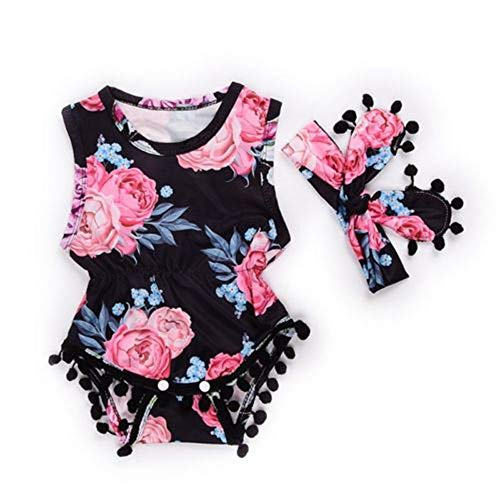 Infant Baby Girls Floral Pompom Tassels Romper Bodysuit Sleeveless Jumpsuit Outfit with Headband Summer Clothes (Floral-Pink+Black, 12-18 Months)