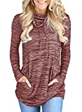 Womens Long Sleeve Cowl Neck Casual Loose Tunic Pullover Sweatshirt Lightweight Blouse Tops with Pockets Red L 12 14