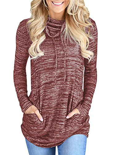 Womens Long Sleeve Cowl Neck Casual Loose Tunic Pullover Sweatshirt Lightweight Blouse Tops with Pockets Red L 12 14 by Dearlove