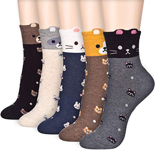 Who are You Animal Dog Cat Character Casual Micro Crew Quarter Socks (Onesize, Micro Crew 5 Pairs)