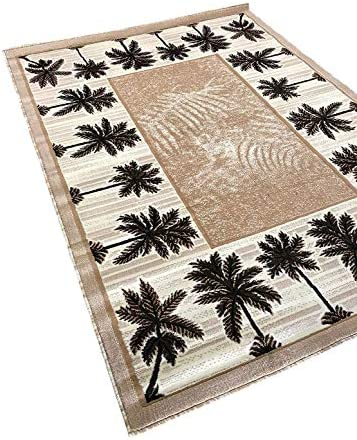 Palm Tree Modern Area Rug Tropical Beige Green Design 729 8 Feet X 10 Feet