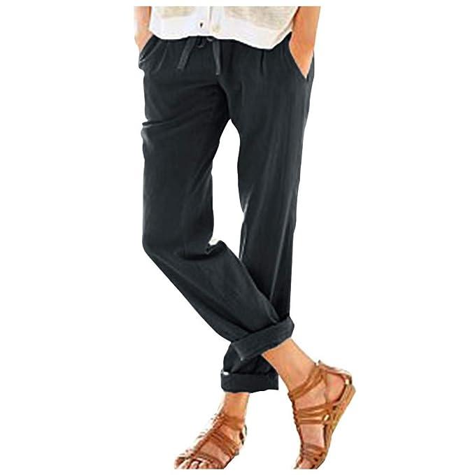 RISTHY Pantalones Mujer Elegantes Largos Pantalones Correas ...