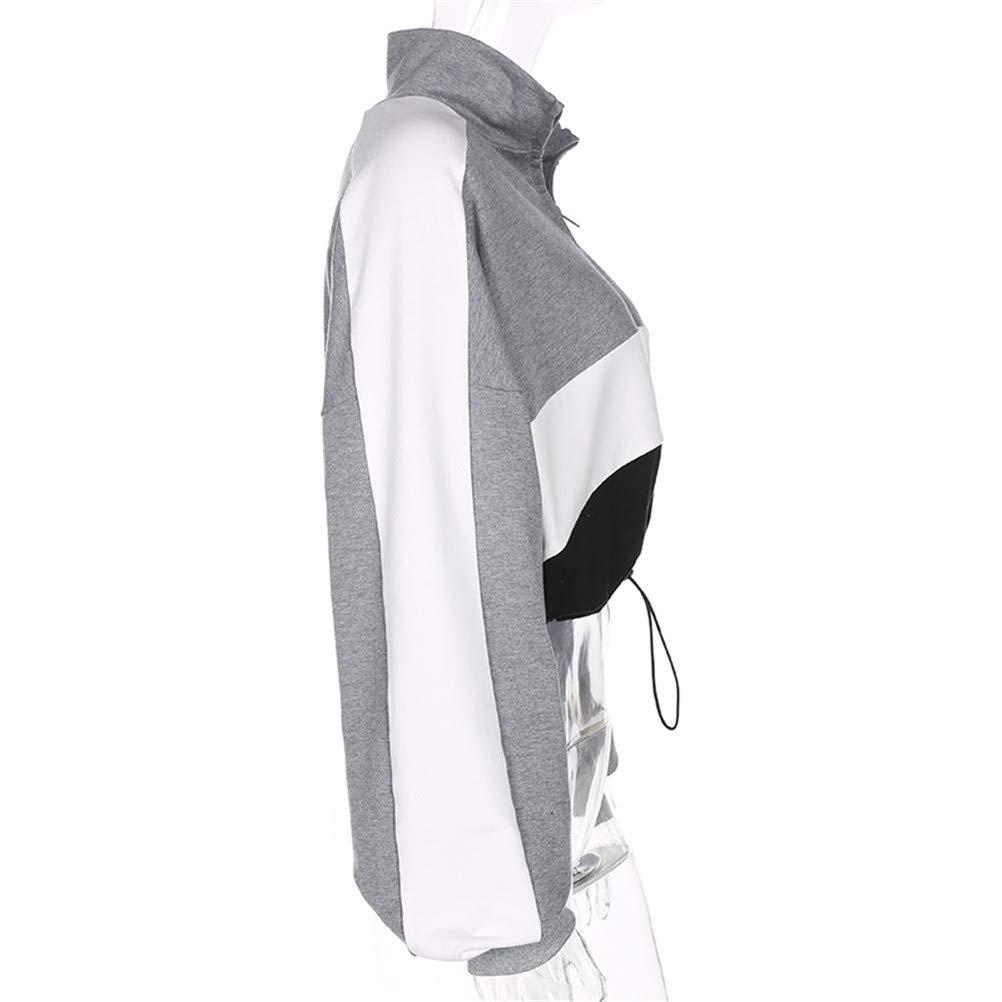yanghcudh 2019 Women Patchwork Long Sleeved Pullovers Hoodies Gray Adjustable Knitted Crop Top