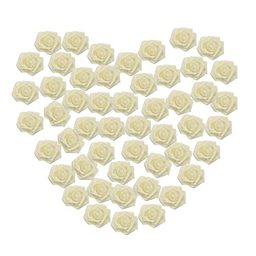 GBSELL 50 Pcs Colorful Foam Roses Artificial Flower Valentine's Day Decorations Wedding Party (White)