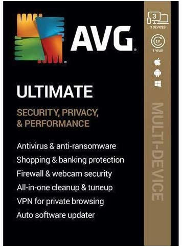 AVG Ultimate [Security, Privacy and Performance] 2020, 3 Devices / 1 Year [Key Card] 51NJAOV1NEL