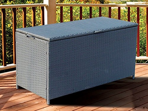 LETTUCE EAT ® NEW STEEL AND RATTAN CORNER SOFA GARDEN FURNITURE STORAGE CHEST TRUNK BOX PATIO
