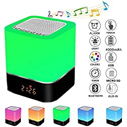 YUEBAOBEI Digital Alarm Clock, Night Light Lamp with Bluetooth Speaker, LED Touch Bedside Lamp, RGB Dimmable Bedside Night Light, and 7 Color Changing, Gift for Teens
