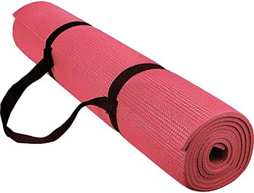 Reehut 1/4-Inch High Density - Exercise Yoga Mat with Carrying Strap for Fitness & Workout