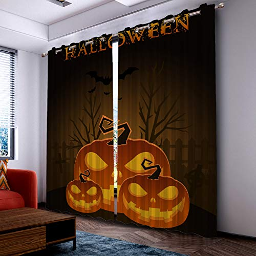 Prime Leader Curtains for Living Room- Darkening Thermal Insulated Window Treatment Curtains, with Grommet Home Decor Halloween Pumpkin and Dark Forest (2 Panels, 52 x 90 Inch Each Panel) ()