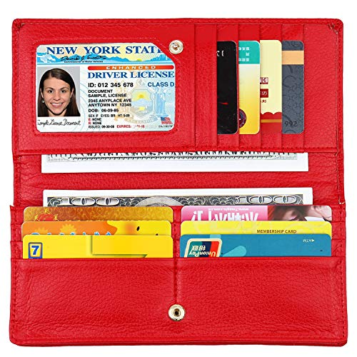 Lavemi RFID Blocking Ultra Slim Real Leather Credit Card Holder Clutch Wallets for Women(Red)