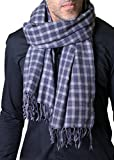 Anika Dali Men's Marco Check Plaid Scarf in Soft Wool with Tassels
