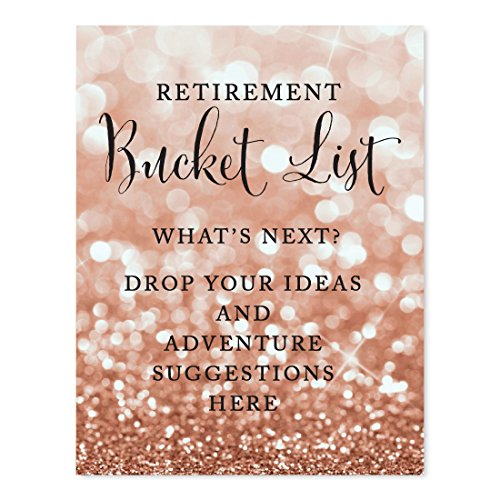 Andaz Press Retirement Party Signs, Glitzy Rose Gold