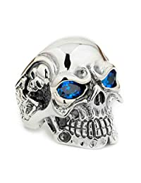 925 Sterling Silver Titan Skull Blue CZ Eyes Mens Biker Punk Ring 8V305 US 7~15