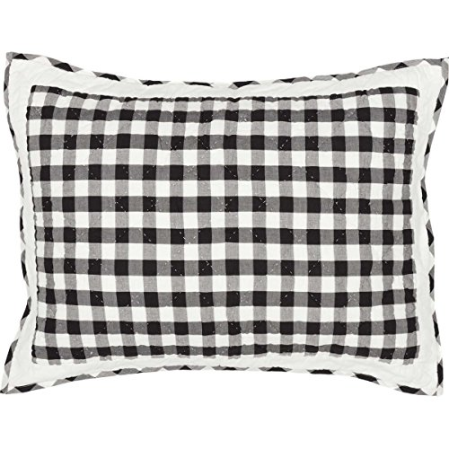 VHC Brands Classic Country Farmhouse Bedding-Annie Buffalo Check White Sham, Standard, Black - Check Standard Pillow Sham
