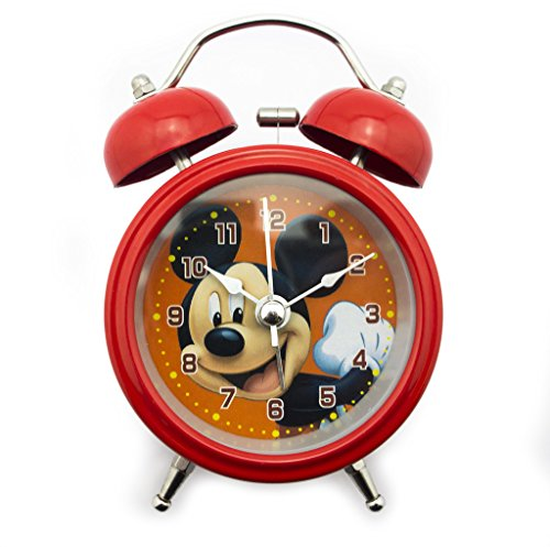 [HAND 8815 Extremely Silent Children Cartoon Twin Bell Metal Alarm Clock- Mickey Mouse Style (Design 7)] (Bell Style Alarm Clock)