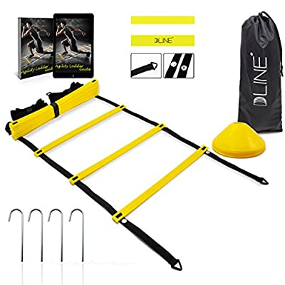 Agility Ladder Speed Training Equipment with 12 Rungs to Improve Soccer,Football & Other Sports Skills-Set of 15ft Speed Ladder,10 Speed Cones,4 Metal Pegs,Waterproof Carrying Bag,Ebook Guide