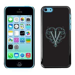 V victoria Virgen Gris inicial Carta Retro - Metal de aluminio y de plástico duro Caja del teléfono - Negro - iPhone 5C