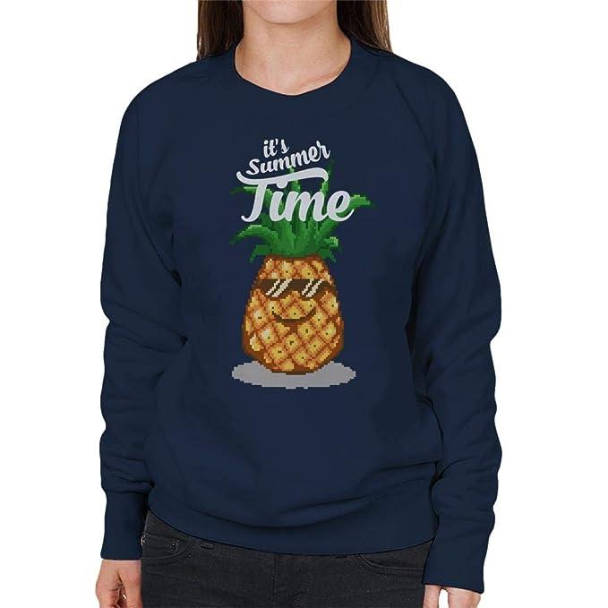 Cloud City 7 Summer Time Pineapple Pixel Art Womens Sweatshirt: Amazon.es: Ropa y accesorios