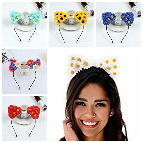 Price comparison product image CellElection Adjustable 6 Pcs Party Chrysanthemum Cat Ear Wedding Hair Flowers Crown Women Lady Girl's Summer Holiday Headbands