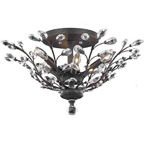 Elegant Lighting Orchid Collection Flush Mount with Swarovski Spectra Crystals, Dark Bronze Finish