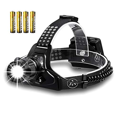 Akale LED Headlamp, BEST Version LED Headlights, Powerful Lumens Zoomable Work Headlamps for Camping, Security, Emergency Use Night Readin