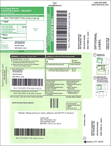 Printable Certified Mail (1-up Certified Mail Form with Return receipt), Pack of 100