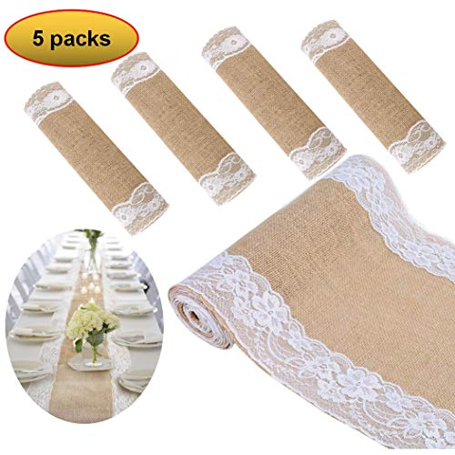 boyspringg Set of 5 Burlap Hessian Jute Table Runner with White Lace Table Decoration Wedding Party Decoration Baby Shower Farmhouse Decor 12X108 Inch]()