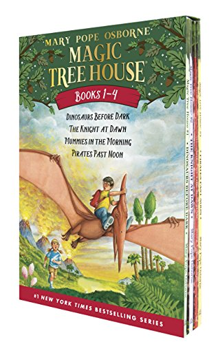 Magic Tree House Boxed Set, Books 1-4: Dinosaurs Before Dark, The Knight at Dawn, Mummies in the Morning, and Pirates Past Noon (Dinosaurs Travel Time)