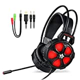 EasySMX Cool 2000 Stereo Gaming Headset for PS4, PC, Xbox One 7.1 Surround Sound Over Ear Headset with Noise Cancelling Mic, LED Light and Volume Control, Red