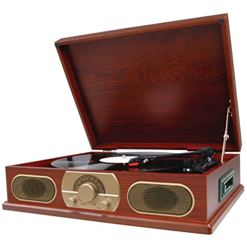 Spectra Studebaker Wooden Turntable with AM/FM Radio & Cassette Player