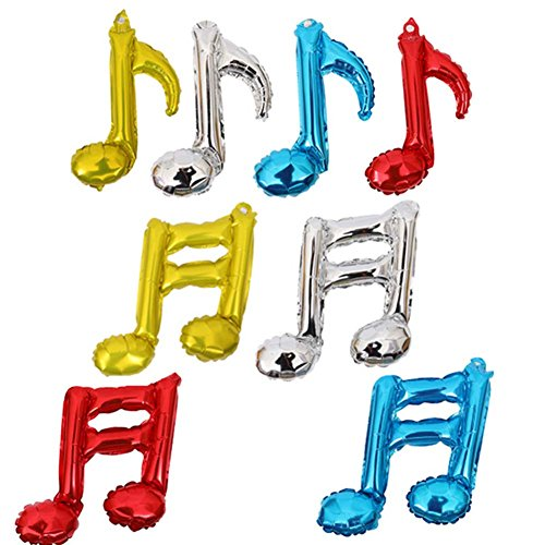 Hosaire 8Pcs Music Note Balloons Air Inflation Aluminum