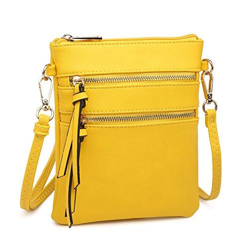 Functional Pockets Crossbody Mini Messenger Lightweight Zipper Multi Yellow Bag Bag EqRXF