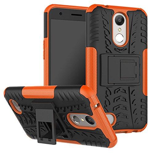 LG K20 Plus Case, LG K20 V Case, LG Harmony Case, Moment Dextrad [Built-in Kickstand] [Non-slip Design] Dual Layer Hybrid Full-body Rugged [Shock Proof] Case Cover (Orange)