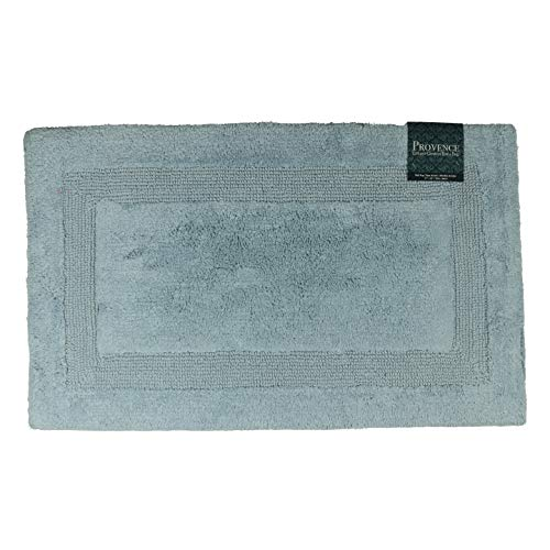 (Provence Bath Rugs - Reversible   Premium 100% Cotton, Soft, Plush, Highly Absorbent   Very Thick Bath Rug 21 x 34 in.  Bordered Design (Blue Fog))