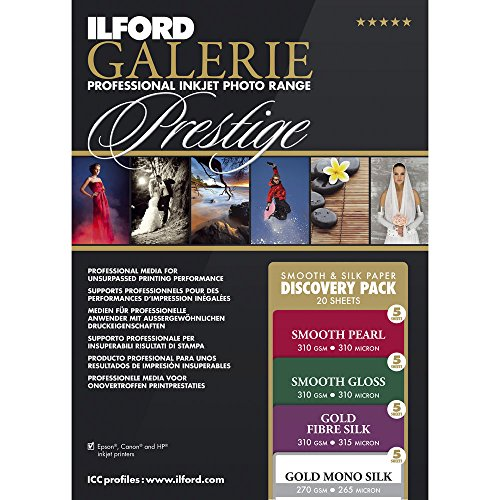 Paper Ilford Smooth Pearl - ILFORD 2004977 GALERIE Prestige Smooth Silk Discovery Pack - 8.5 x 11 Inches, 20 Sheets
