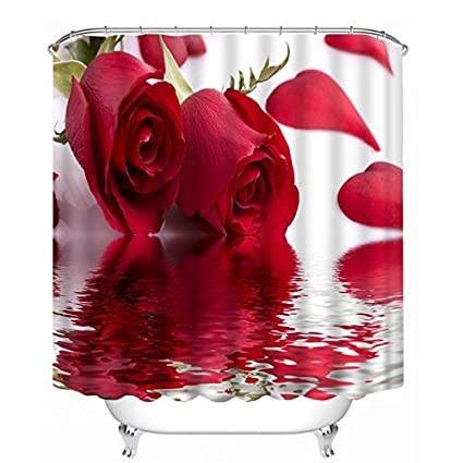 DECMAY 71 X Inch Shower Curtain 3D Red Rose Seamless Flowers With Green
