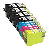 Ink & Toner Geek ® - 10 Pack Remanufactured Replacement Inkjet Cartridges for Epson T127 #127 (T127120, T127220, T127320, T127420) Black Cyan Magenta Yellow For Use With Epson Stylus NX530 Stylus NX625 WF-7010 WF-7510 WF-7520 WorkForce 545