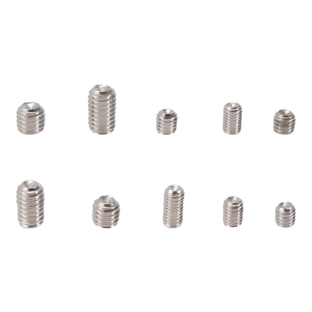 200pcs M3 M4 M5 M6 M8 Tornillos de punta hexagonal de acero inoxidable Cabeza de Allen Surtido Kit Conjunto de tornillos de cabeza hexagonal