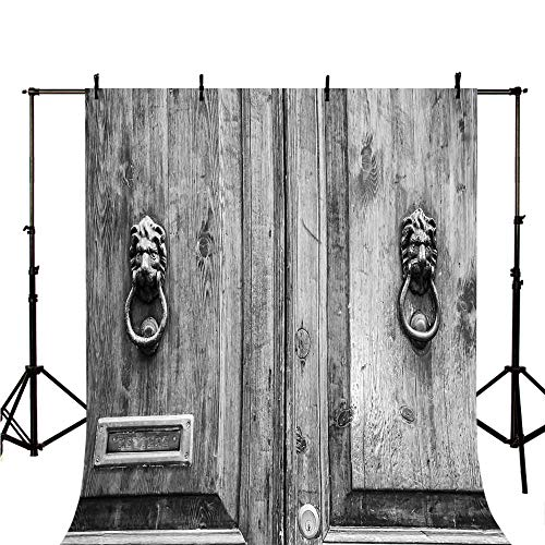 Rustic Stylish Backdrop,Black and White Photography of Tuscany House Doorway Florence with Lion Head Handlers for Photography,118