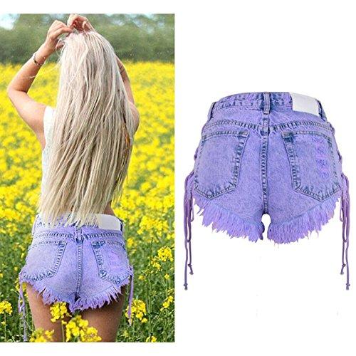 Purple Vita Pantaloncini Con In Spiaggia Wgwioo Denim Da Da Jeans Elasticizzato Alta In Bohemia Beach Donna 0ddnqWZ