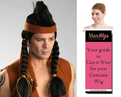 Mohawk Indian color BLACK - Enigma Wigs Bundle w/Cap, MaxWigs Costume Wig Care ()