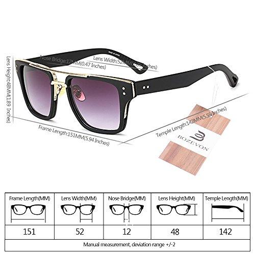 Gafas Verano Retro 06 para Gafas Mujers de Estilo Unisex y BOZEVON Hombre UV400 Extragrandes sol de 4xTHWdH7qw