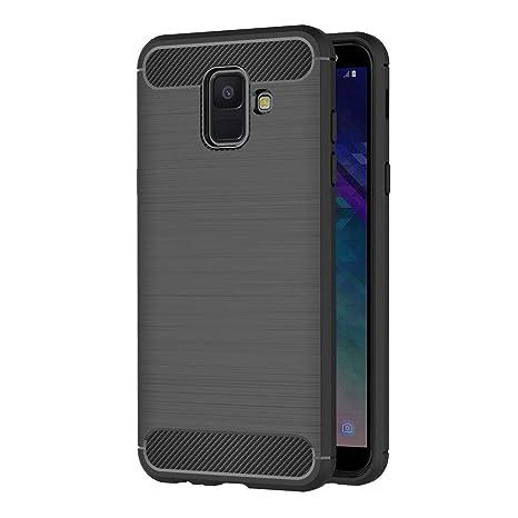 AICEK Funda Samsung Galaxy A6 2018, Negro Silicona Fundas para Samsung A6 2018 Carcasa Galaxy A6 2018 Fibra de Carbono Funda Case (5,6 Pulgadas)
