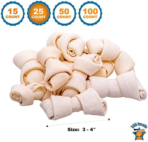 123 Treats Rawhide Bones Chews 3-4 Premium Rawhide Dog Bones Free Range Grass Fed Cattle with No Hormones, Additives or Chemicals