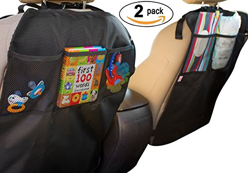 Kick Mats - 2 Pack - Car Seat Back Protector - Storage Organizer Pockets By Baby Caboodle