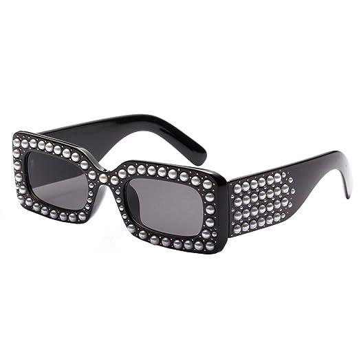 Fashion Women Pearl Square Frame Frame Shades Sunglasses Integrated UV  Protection Glasses (A 9cc7299e7f
