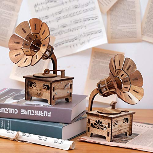 ghfcffdghrdshdfh Gramophone Shaped Music Box Vintage Romantic Hand Crank Type Gift Present