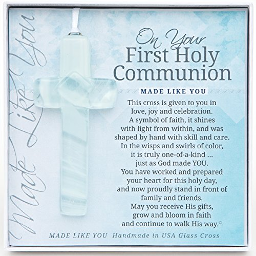 The Grandparent Gift Co. Handmade Glass Cross: First Communion Gift