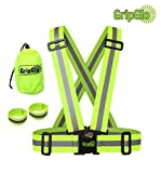 GripGlo High Visibility Neon Lime Reflective Elastic Safety Belt Harness Vest | Size: Adult | For Running, Biking, Walking, Cycling | Includes 2 Reflective Arm Bands And Carrying Bag